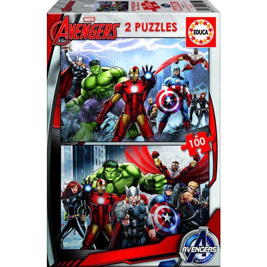 Avengers - 2 puzzels van 100 stukjes-1