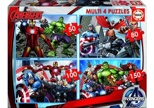 Avengers - 4 puzzels van 50/80/100/150 stukjes