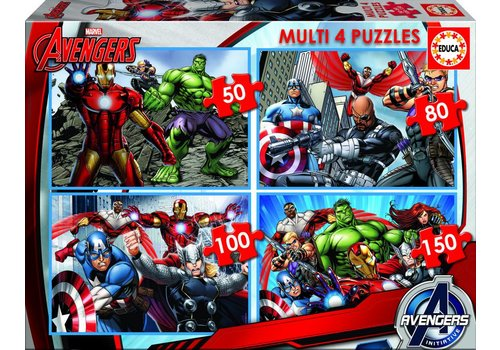 Educa Avengers - 4 puzzels van 50/80/100/150 stukjes