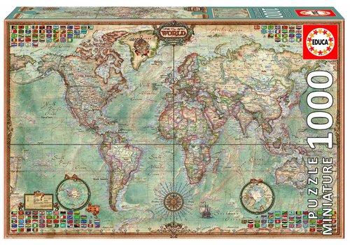 Miniatuur puzzel - Wereldkaart - 1000 stukjes