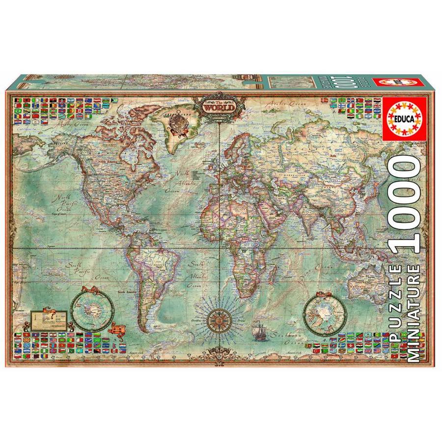 Miniatuur puzzel - Wereldkaart - 1000 stukjes-1