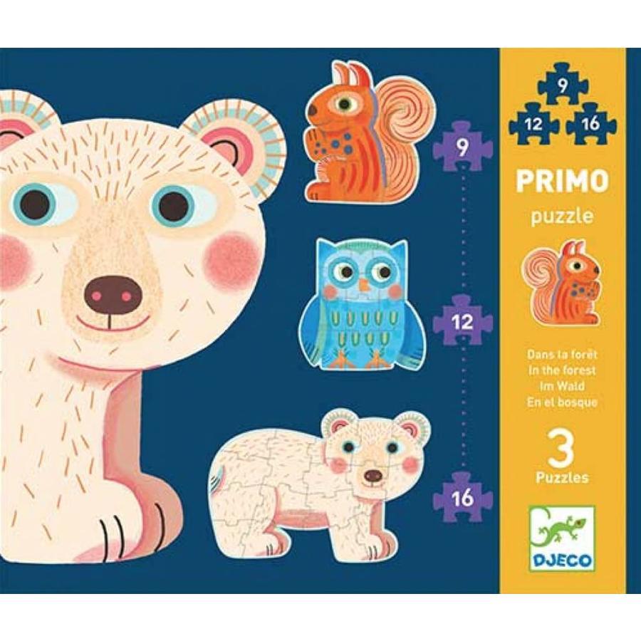 Eerste puzzels - In het bos - 3 puzzels van 9, 12 en 16 stukjes-1