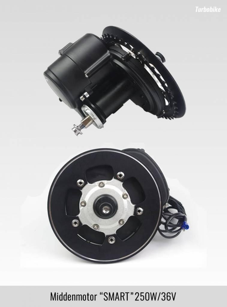 Ombouwset Middenmotor SMART TORQUE 250W-36V inclusief Li-ion batterij