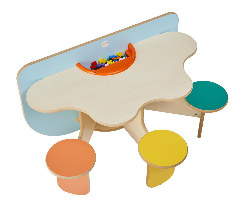 Onwijs Design speeltafel met 3 vaste zitjes, speelblokken en opbergruimte - ZI-78