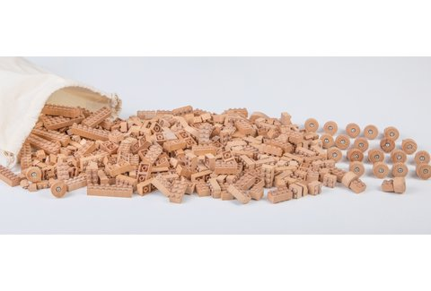 Houten Lego steentjes 300 stuks