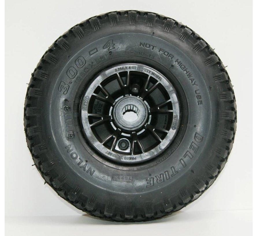Bolderkar wiel 300-4 rollager / zwarte velg