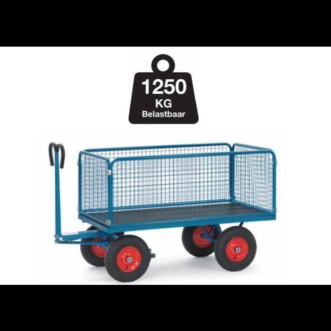 Transport Bolderkar met XL wielen met gaaswand 100cm