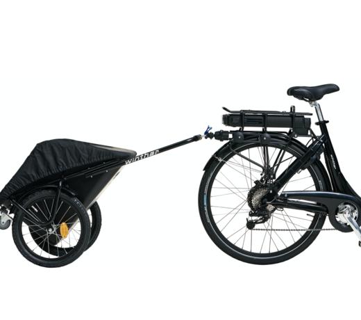 Bolderkarren en bagagekarren die achter een fiets te bevestigen zijn.