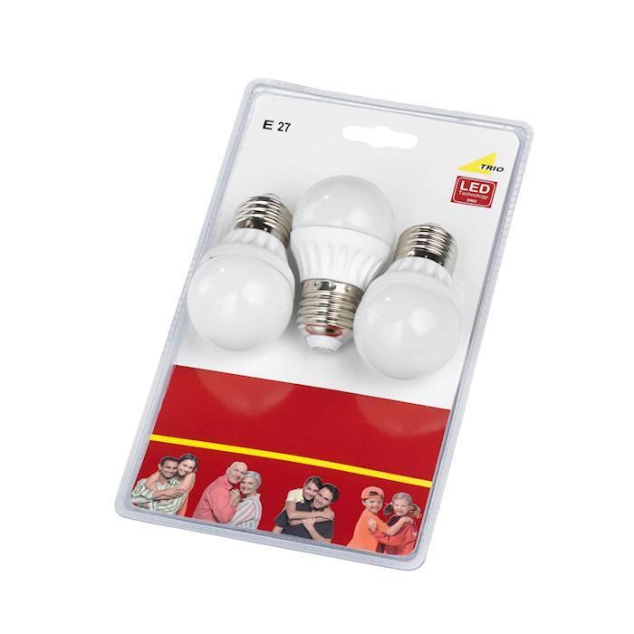 Trio E27 6W 3000K LED compact / 3 st