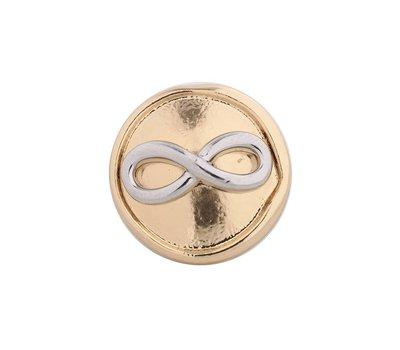 Clicks en Chunks | Click infinity zilverkleurig met goudkleurig voor clicks sieraden