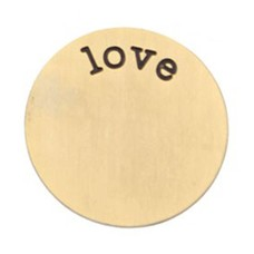 Floating locket  discs Memory locket disk love goudkleurig XL