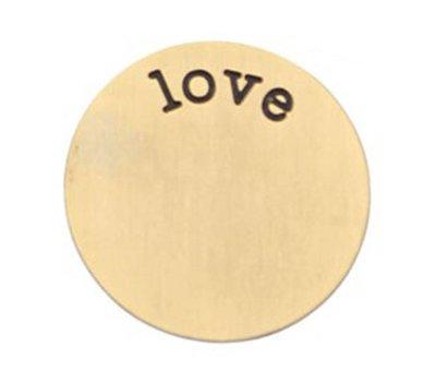 Floating locket  discs Memory locket disk love goudkleurig XL