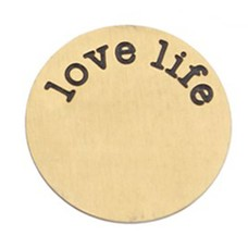 Floating locket  discs Memory locket disk Love Life goudkleurig XL