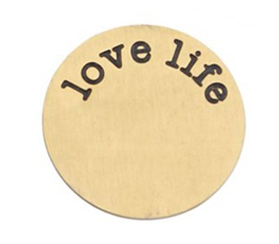 Floating locket  discs Memory locket disk Love Life goudkleurig XL