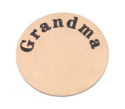 Floating locket  discs Memory locket disk Grandma rose goudkleurig XL