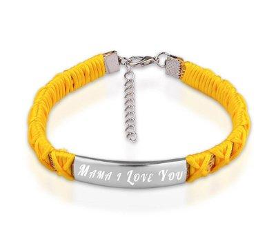 Armband met Naam Armband graveren dames geel