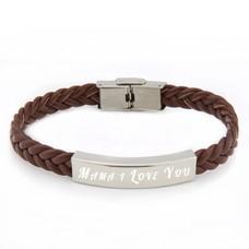 Armband met Naam Leren armband graveren bruin
