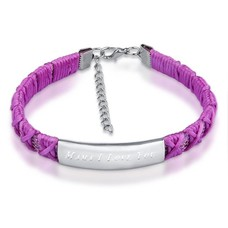 Armband met Naam Armband graveren dames lila