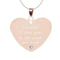 Ketting Graveren Ketting Graveren Hanger Hart Diamond Rosé Goudkleurig