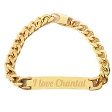 Armband met Naam Armband graveren heren goudkleurig