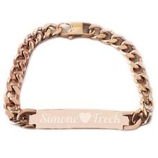 Armband met Naam Armband graveren heren rose goudkleurig