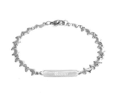 Armband met Naam Dolfijn armband graveren zilverkleurig