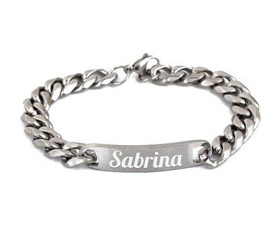 Armband met Naam Zilverkleurige armband graveren