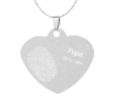 Vingerafdruk sieraad Vingerafdruk sieraad hart middel zilverkleurig