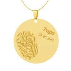 Vingerafdruk sieraad Vingerafdruk sieraad rond groot goudkleurig
