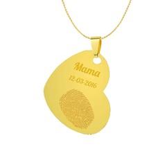 Vingerafdruk sieraad Vingerafdruk sieraad gekanteld hart goudkleurig
