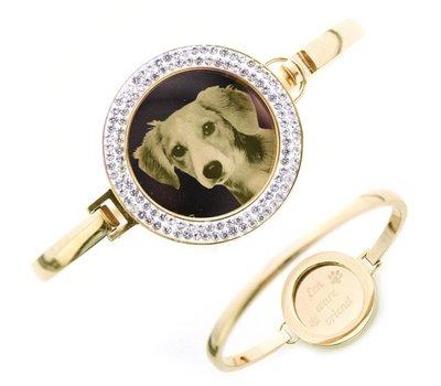 Armband met foto graveren Armband met foto graveren goudkleurig strass