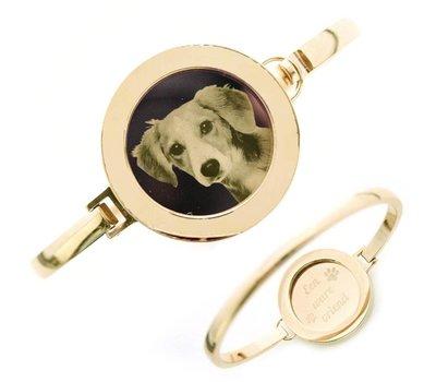 Armband met foto graveren Armband met foto graveren goudkleurig