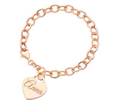 Armband met Naam Bedelarmband met Naambedel rose goudkleurig