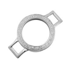 Armband voor munten Munthouder smal voor losse armband zilverkleurig met strass van roestvrij staal