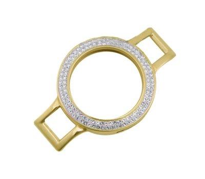 Armband voor munten Munthouder smal voor losse armband goudkleurig met strass van roestvrij staal