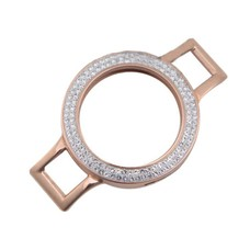 Armband voor munten Munthouder smal voor losse armband rose goudkleurig met strass van roestvrij staal