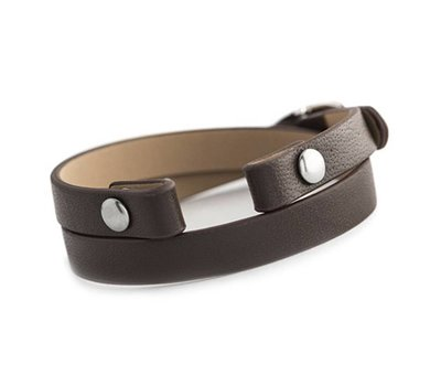 Armband voor munten Losse armband voor munthouder smal leer dubbel bruin