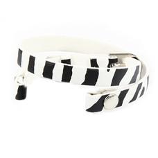 Armband voor munten Losse armband voor munthouder smal leer dubbel zebra