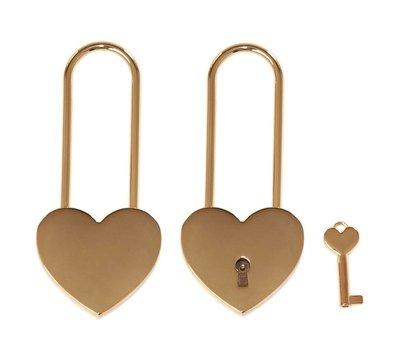 Liefdesslotjes Liefdesslot Graveren Hart goudkleurig lange sluiting