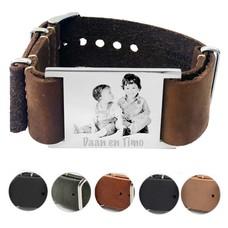Armband met foto graveren Leren Armband met foto Graveren Soul breed
