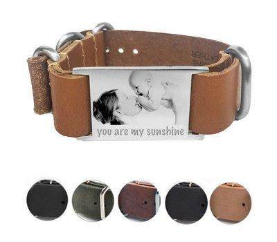 Armband met foto graveren Leren Armband met foto Graveren Soul smal