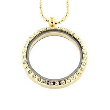 Floating locket Goudkleurige memory locket rond large strass met bamboo ketting