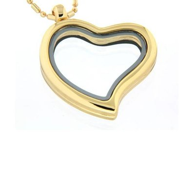 Floating locket Goudkleurige  memory locket hart gebogen met ketting