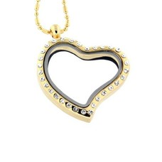 Floating locket Goudkleurige  memory locket hart gebogen strass met ketting
