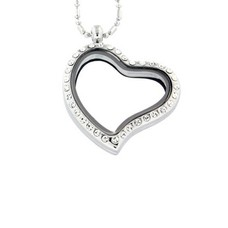 Floating locket Zilverkleurige memory locket hart gebogen strass met ketting