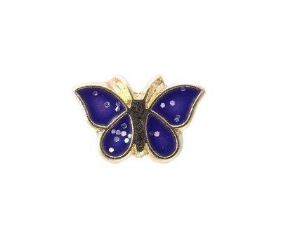 Floating Charms Floating charm goudkleurig vlinder blauw voor de memory locket