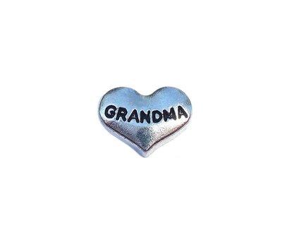 Floating Charms Floating charm grandma hartje zilverkleurig voor de memory locket