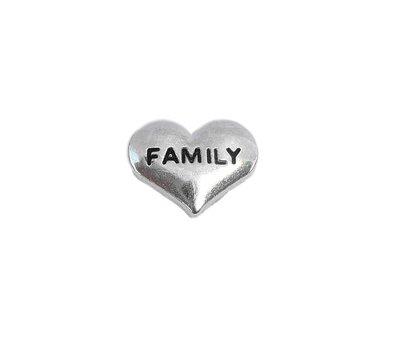 Floating Charms Floating charm family hartje zilverkleurig voor de memory locket