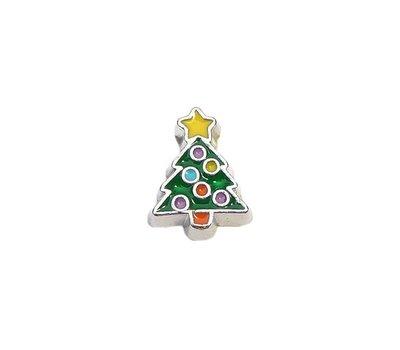 Floating Charms Floating charm versierde kerstboom zilverkleurig voor de memory locket