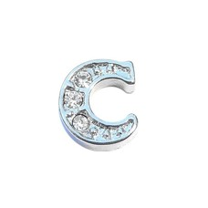 Floating Charms Floating charm letter c met crystals zilverkleurig